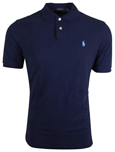 Polo Ralph Lauren Men's Slim Fit Pique Mesh Polo Shirt (Medium, Navy/Blue (Light Blue Pony)) ()
