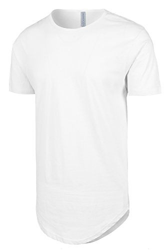 White Drop Cut Curved Hem Scallop Extra Long Longline T-Shirt S
