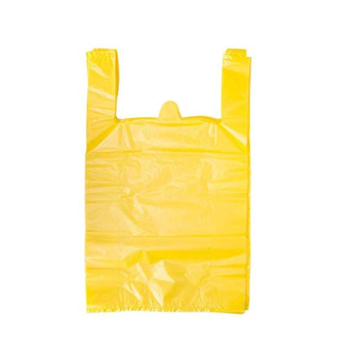 LazyMe 12 x 20 inch Plastic Thick Yellow T Shirt Bags, Handle Shopping Bags, Multi-Use Large Size Merchandise Bags, Yellow Plain Grocery Bags, Durable (100, Yellow) -