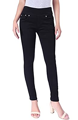 BodiLove Women's Stretchy Mid Rise Pull On Yoga Denim Skinny Jeans with Elastic Band