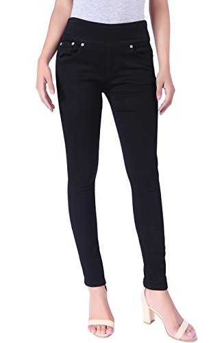 BodiLove Womens Stretchy Mid Rise Pull On Yoga Denim Skinny Jeans with Wide Pull On Band
