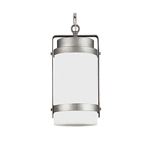 Sea Gull Lighting 6222401-57 Bucktown - One Light Outdoor Pendant, Weathered Pewter Finish with Satin Etched Glass