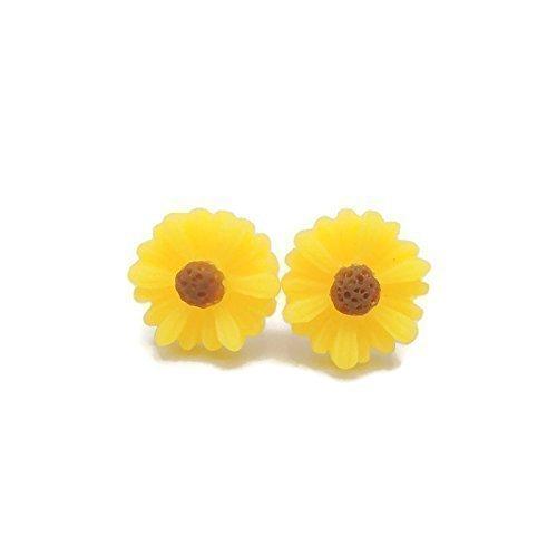 10Mm Sunflower Earrings On Hypoallergenic Plastic Posts For Metal Sensitive Ears