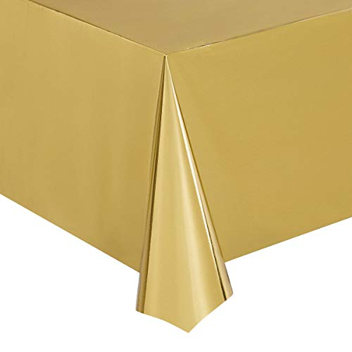 Juvale Gold Foil Tablecloth - 3-Pack 54 x 108 Inch Shiny Plastic Tablecloth, Fits up to 8-Foot Long Tables, Gold Themed Party Supplies, 4.5 x 9 Feet]()