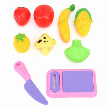 (Developmental Toys - 9pcs Fruit Vegetable Food Cutting Pieces Set Child Kids Role Play Toy Gift - Nutrient Thinning Slice Put Clipping Opus Laid Carving Part Dictated Edged Bit Arranged)