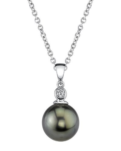 THE PEARL SOURCE 14k Gold 11-12mm Round Black Tahitian South Sea Cultured Pearl & Diamond Michelle Pendant Necklace for Women 12mm South Sea Pearl Pendant