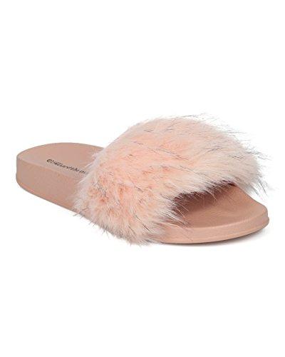 Alrisco Kvinner Faux Fur Lysbilde - Åpen Tå Fuzzy Slip På Sandal - Casual Trendy Mote Populær Tøffel - Flo-10 Ved Heart.thentic Rosa Fuskepels