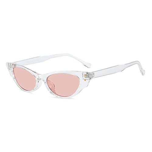 WOWSUN Vintage Cute Cat Eye Superlight Sunglasses for Women Designer Fashion Eyeglasses (white-pink - For Designer Small Best Sunglasses Faces