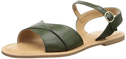 Carlton London Women's Green Flat Sandal