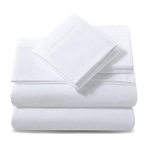 Ashler Bed Sheet Set - Hypoallergenic Soft Microfiber Deep Pocket 1800 Series - Wrinkle Fade Resistant - 4 Piece Queen White