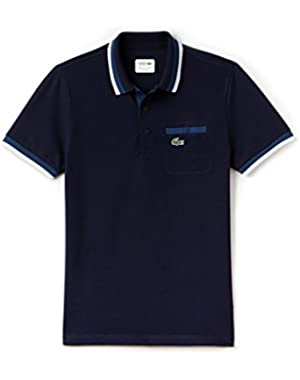 Lacoste Men's Sport Men's Navy Polo With Colored Accents in Size 4-M Navy