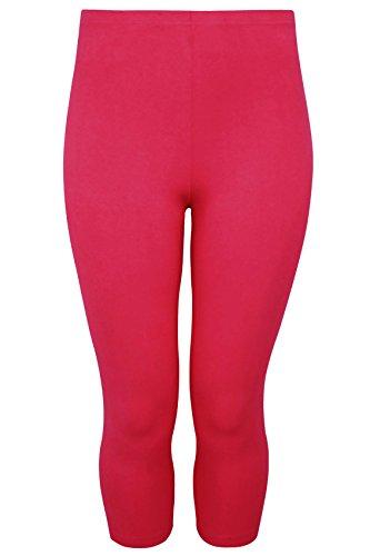 Yoursclothing Plus Size Womens Hot Cotton Elastane Cropped Leggings Size 24 Pink