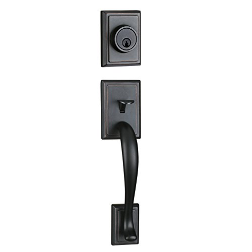 Entry Deadbolt and Handle Single Cylinder Handleset with Knob Handle for Back Entrance and Front Door Reversible for Right and Left Handed Oil Rubbed Bronze Finish, MDHST201310B-AMZ-2 by TMC (Image #1)