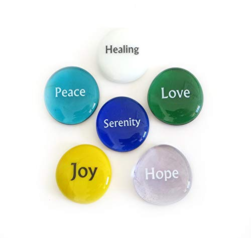 Lifeforce Glass Focus Stones, 6 Inspiring, Encouraging and Motivating Single Words Imprinted on Glass Stones, Inc. Set II.