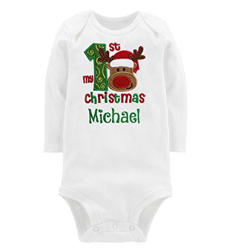 Embroidered Christmas Onesie Bodysuit for Baby Boy with Reindeer Face and Custom Name (0-3 Months Long Sleeve) White (Embroidered Interlock)