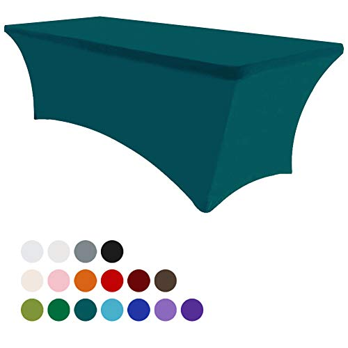 (Eurmax 6Ft Rectangular Fitted Spandex Tablecloths Wedding Party Table Covers Event Stretchable Tablecloth (Jade)