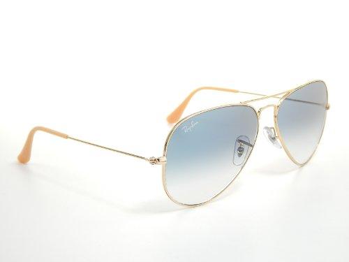 ray ban aviator sunglasses arista gold light blue  amazon: new ray ban aviator rb3025 001/3f arista/crystal gradient light blue 55mm sunglasses: shoes