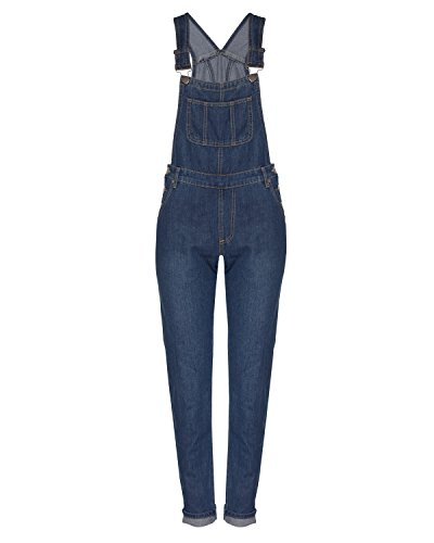 Instar Mode Women's Classic and Distressed Skinny Jumpsuit Overalls in Various Styles Medium Denim XL ()