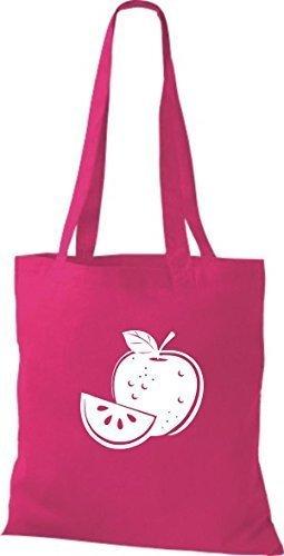 ShirtInStyle Bolso de tela Bolsa de algodón Tu Favorita frutas y hortalizas manzana - Fucsia, 38 cm x 42 cm Fucsia
