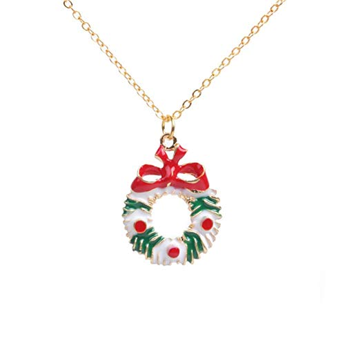 HYMAYX Christmas Necklace Enamel Jewelry Print Snowman Deer Socks Christmas Tree Pendant Necklace New Year Gift