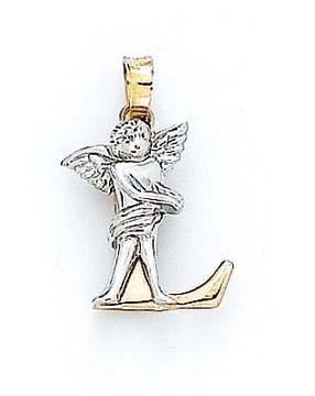 "Initiale L 14 carats avec pendentif ange de 3/4 ""- JewelryWeb"