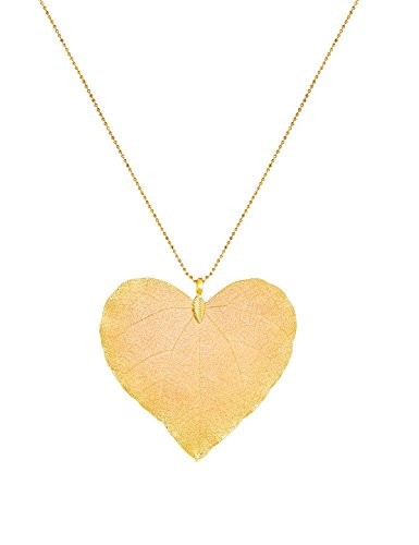 Filigree Heart Necklace Set - CLORIS TAUTOU Long Pendant Necklaces Real Leaf Necklace Handmade Filigree Natural Bohemian Jewelry for Women Gifts Heart Gold Color