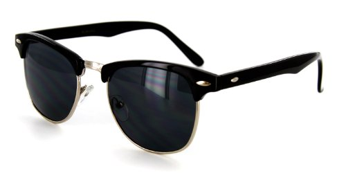 Retro Sun Sunglasses with Vintage Frames and Dark Tint for Modern, Stylish Men and Women (Black/Silver, - Uva Shop Gift