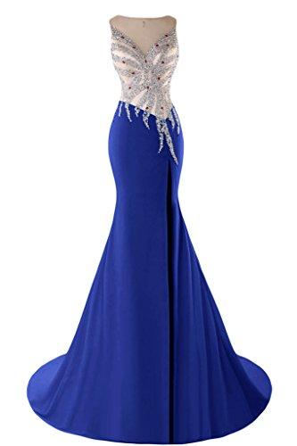 con sera sirena elegante Neckline Royal V V Back abito Sunvary Gowns Blue da YtUx4wx0
