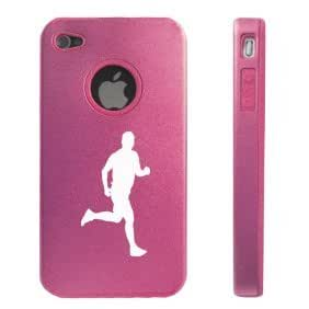 Apple iPhone 4 4S 4 Pink D3076 Aluminum & Silicone Case Cover Male Runner