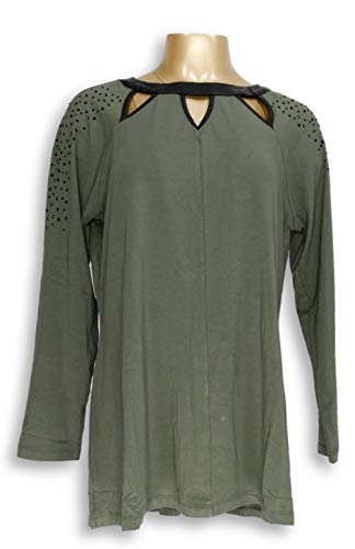 Belle by Kim Gravel Women's Top Size M Faux Leather Trim Cut-Out Green A283913 from Belle by Kim Gravel