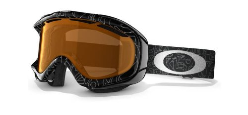 Oakley Asian Fit Ambush Snow Goggles (Black With Silver Text Frame/Persimmon Lens), Outdoor Stuffs