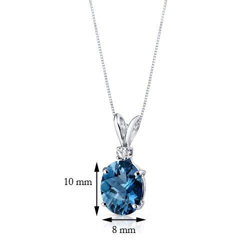 14 Karat White Gold Oval Shape 3.00 Carats London Blue Topaz Diamond Pendant by Peora (Image #3)
