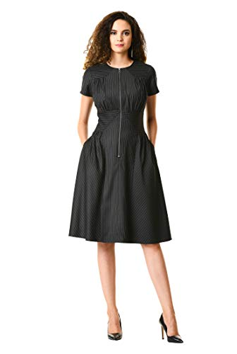 Stretch Metal Ruched Dress - eShakti Women's Front Zip Pieced Pinstripe Suiting Dress M-10 Regular Black/Gray