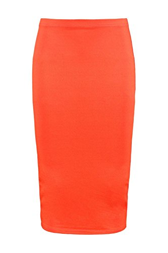 Boohoo Womens Amaya Crepe Midi Skirt in Orange size 10