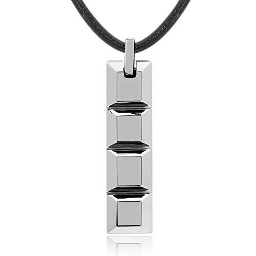Men Women Necklace Stainless Steel Silver Square Rectangle Pendant Necklace Necklace Length 51Cm - Phoenix Arizona Outlets In