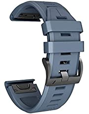 Lyperkin Compatible with Garmin Fenix 5X Plus Watch Band, Fashion Quick Release Soft Silicone Watch Strap Replacement Buckle Strap Wristband Watch Band Wrist Strap, Easy Fit - Multicolor
