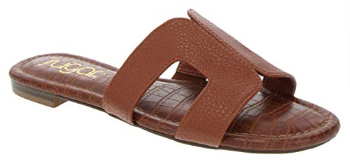Sugar Women's Outing H Band Sandals with Faux Crocodile Footbed and Studs Cognac Pebbled 7.5