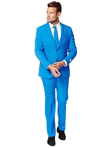 Opposuits Blue Steel Solid Blue Suit For Men Coming With Pants, Jacket and Tie, Blue Steel, US40]()