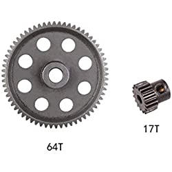 2PCS Differential Main Metal Spur Gear 64T + 17T for HSP 1/10 RC Car