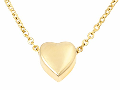 Zoey Jewelry Small Floating Heart Cremation Urn Pendant Ashes Memorial Necklace (Gold Tone)