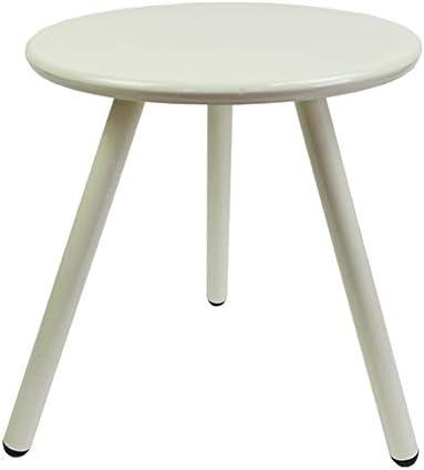 GWDJ アイアンサイドテーブル、ラウンドコーヒーテーブルソファサイド安定したラウンドテーブルバルコニーリビングルームの寝室のバルコニーに適した入れ子になったテーブル、3色 コーナーテーブル (色 : 白, サイズ さいず : 50cm-19inch)