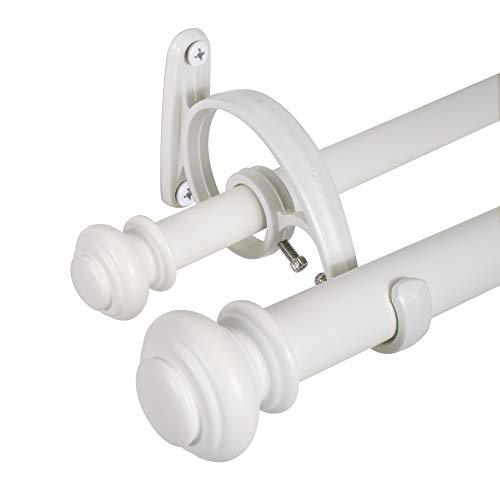 Decopolitan Urn Double Curtain Rod, 72 to 144-Inch, Bright White (White Long Curtain Rod)