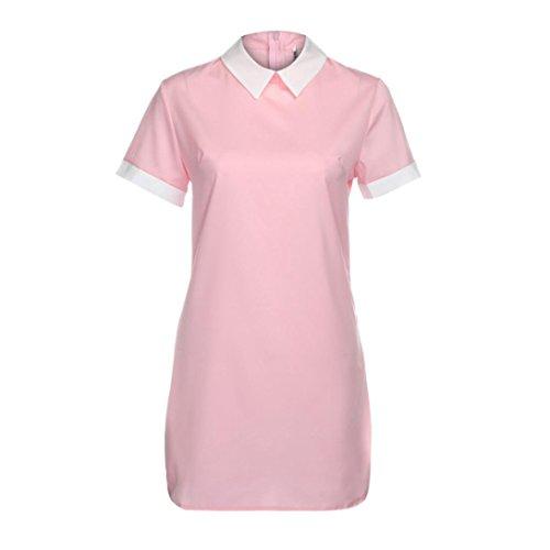 Ouneed Las mujeres de verano de manga corta fiesta de noche casual trabajo corto mini vestido Rosado
