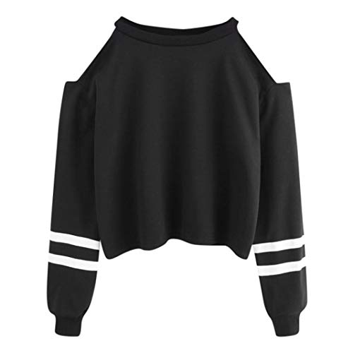 URIBAKE Women Off Shoulder Long Sleeve Blouse Sweatshirt Pullover Casual Tops Shirt (Rugby Striped Hooded)