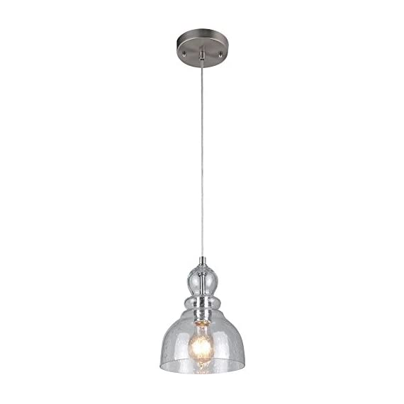 Westinghouse Lighting 6100700 One-Light Indoor Mini Pendant, Brushed Nickel Finish with Clear Seeded Glass - One-light mini pendant with hand blown clear seeded glass shade and brushed nickel finish adds retro style May be installed on sloped ceilings, includes instructions and mounting hardware for easy installation Height 60-inches, Diameter 7-inches, Cord length 50 inches maximum - kitchen-dining-room-decor, kitchen-dining-room, chandeliers-lighting - 3125y6LbjSL. SS570  -