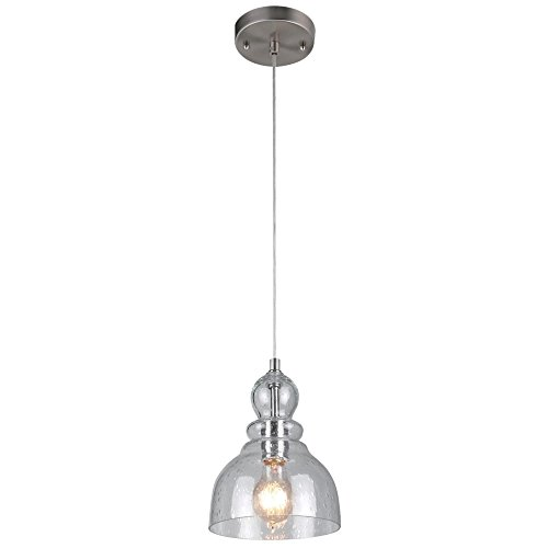 Westinghouse 6100700 Industrial One-Light Adjustable Mini Pendant with Handblown Clear Seeded Glass, Brushed Nickel - Warehouse Glasses
