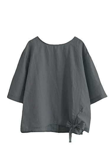 Minibee Women's Cotton Linen Blouse Loose Tunics Tops Shirt L ()