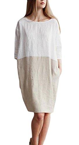 Cotton Womens Khaki 3 4 Dress Midi Loose Sleeve Line Patchwork Jaycargogo XqdA4X