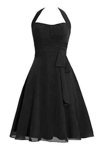 Snowskite Women's Halter Knee Length Chiffon Homecoming Prom Bridesmaid Dress Black 28