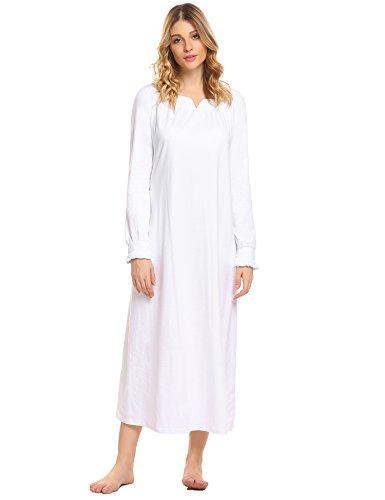 Ekouaer Women's Cotton Long Sleeve Sleepwear Victorian-style Nightgown (White,XXL)]()